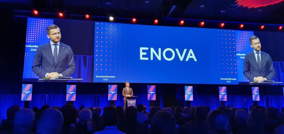 Klima- og miljøminister Sveinung Rotevatn åpnet Enova-konferansen i Trondheim. (Foto: Martin L. M. Brandtzæg).